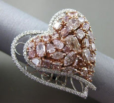 ESTATE MASSIVE 4.64CT WHITE & FANCY PINK DIAMOND 18K 2 TONE GOLD LOVE HEART RING