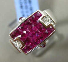 ESTATE 2.60CT DIAMOND & EXTRA FACET RUBY 18KT WHITE GOLD ETOILE RECTANGULAR RING
