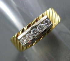 ESTATE LARGE & WIDE .50CT DIAMOND 14KT Y&W GOLD ANNIVERSARY / WEDDING RING #999