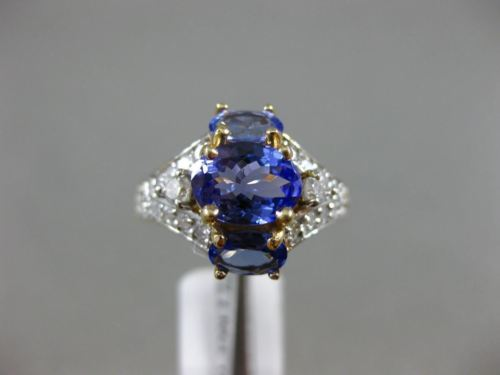 LARGE 2.90CT ROUND DIAMOND & AAA OVAL TANZANITE 14K 2 TONE GOLD ANNIVERSARY RING