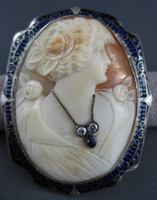 ANTIQUE LARGE DIAMOND FILIGREE BLUE ENAMEL LADY CAMEO 14KT WHITE PENDANT #22634