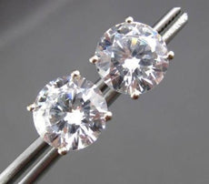 ESTATE MASSIVE 14KT WHITE GOLD ROUND CZ CUBIC ZIRCONIA STUD EARRINGS #24259