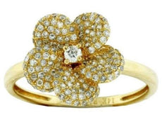 ESTATE .47CT DIAMOND 14KT YELLOW GOLD 3D CLASSIC ROUND PAVE FLOWER LOVE RING