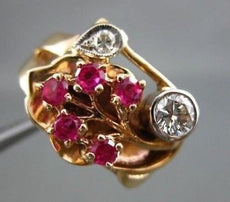 ANTIQUE WIDE .70CT OLD MINE DIAMOND & AAA RUBY 14KT WHITE & ROSE GOLD RING #1652