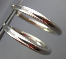 ESTATE LARGE 14KT WHITE GOLD 3D CLASSIC SHINY HANGING HOOP EARRINGS 3mm #25680