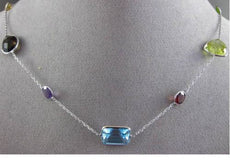 ANTIQUE 20.0CTW AAA MULTI SHAPE & COLOR GEM BY THE YARD 14KT WHITE GOLD NECKLACE