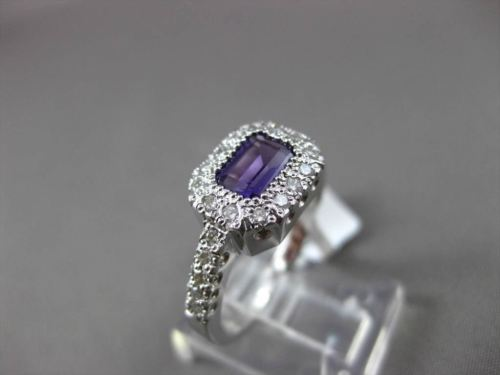 ANTIQUE 1.10CT DIAMOND & AAA AMETHYST 14KT WHITE GOLD HALO SOLITAIRE FUN RING