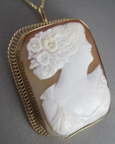 ANTIQUE 14KT YELLOW GOLD HAND CARVED LADY SHELL CAMEO PENDANT PIN & BROOCH #1328