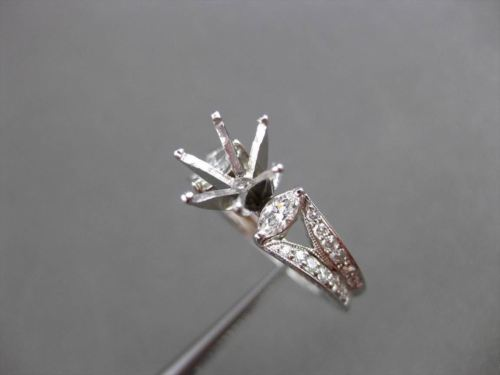 ANTIQUE .55CT DIAMOND 18KT WHITE GOLD FILIGREE SEMI MOUNT ENGAGEMENT RING #16176