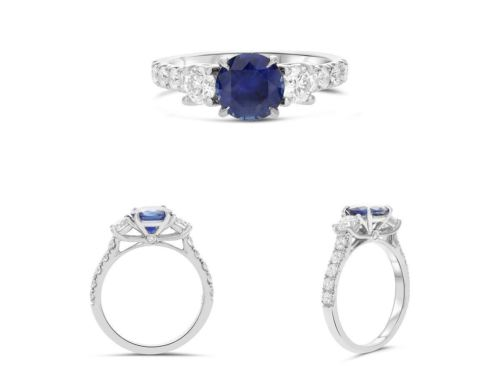 GIA CERTIFIED 2.47CT DIAMOND & AAA SAPPHIRE 14KT WHITE GOLD 3D ENGAGEMENT RING