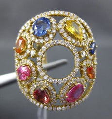 ESTATE LARGE 5.56CT DIAMOND & AAA MULTI COLOR SAPPHIRE 18KT YELLOW GOLD FUN RING