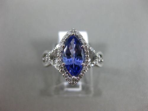 LARGE 1.70CT DIAMOND & AAA TANZANITE 14KT WHITE GOLD 3D INFINITY ENGAGEMENT RING