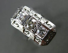 ANTIQUE WIDE .62 OLD MINE DIAMOND 14K WHITE GOLD 3D 3 STONE FILIGREE RING #22447