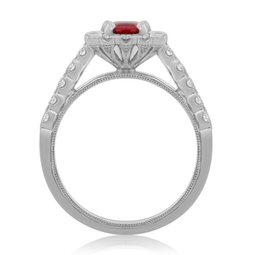 ESTATE 1.66CT DIAMOND & EMERALD CUT AAA RUBY 18KT WHITE GOLD 3D ENGAGEMENT RING