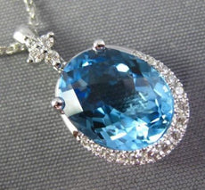 LARGE 3.24CT DIAMOND & AAA OVAL BLUE TOPAZ 14KT WHITE GOLD 3D FLOWER PENDANT