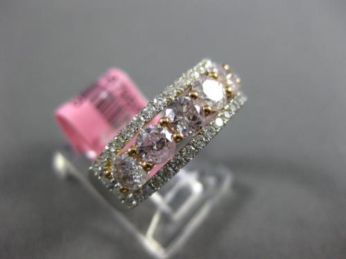 WIDE 1.68CT WHITE & PINK DIAMOND 18K WHITE & ROSE GOLD 3D HALO ANNIVERSARY RING