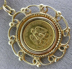 ESTATE 22K & 14K YELLOW GOLD 3D 1945 HANDCRAFTED DOS PESOS MEXICAN COIN PENDANT