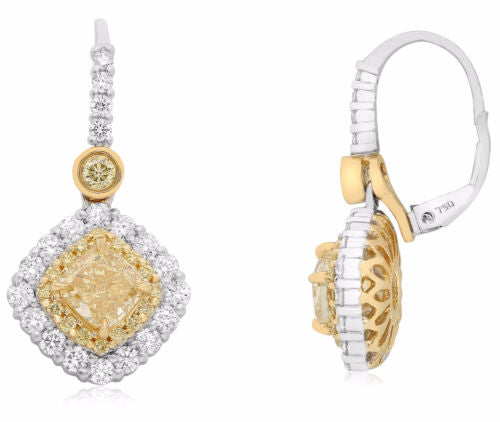 GIA 2.6CT WHITE & FANCY YELLOW DIAMOND 18K 2TONE GOLD LEVERBACK HANGING EARRINGS