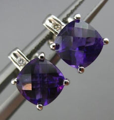 ESTATE 1.67CT DIAMOND & AAA AMETHYST 14K WHITE GOLD CLASSIC SQUARE STUD EARRINGS