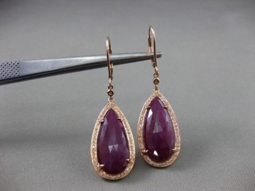 ANTIQUE 18.15CT DIAMOND & RED CORUNDUM RUBY 14KT GOLD PEAR DROP HANGING EARRINGS