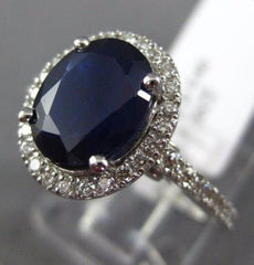 ESTATE 3.0CT DIAMOND & AAA SAPPHIRE 14K WHITE GOLD HALO FILIGREE ENGAGEMENT RING