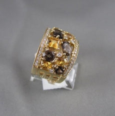ANTIQUE WIDE CITRINE AMETHYST DIAMOND 14KT Y GOLD RING