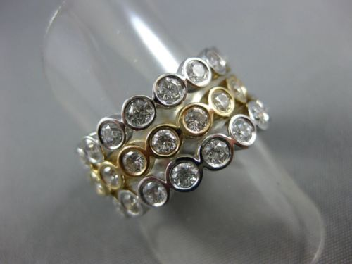 ESTATE WIDE 2.70CT DIAMOND 14KT 2 TONE GOLD ETOILE BEZEL ETERNITY STACKABLE RING