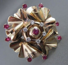 ANTIQUE 2.06CT OLD MINE DIAMONDS & AAA RUBIES 14KT Y FLOWER PENDANT BROOCH #1381