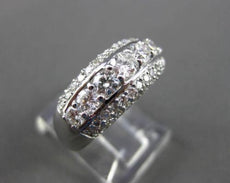 ANTIQUE WIDE 1.32CT DIAMOND 14KT WHITE GOLD 7 STONE 3D ANNIVERSARY RING #22373