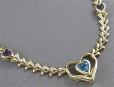 "ESTATE HEART AMETHYST BLUE TOPAZ 14KT YELLOW GOLD NECKLACE 18"" LOBSTER #21665"