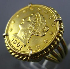 ESTATE LARGE 18KT YELLOW GOLD 3D FILIGREE ROPE 1901 AMERICAN LIBERTY COIN RING