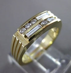 ESTATE .35CT DIAMOND 14KT YELLOW GOLD BAGUETTE & ROUND MENS RING 5mm #1212