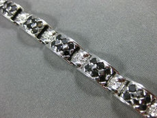 ESTATE WIDE 5.25CT WHITE & BLACK DIAMOND 14KT WHITE GOLD 3D TENNIS BRACELET