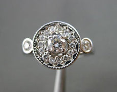 ANTIQUE WIDE .63CT DIAMOND 14KT WHITE GOLD ROUND FILIGREE COCKTAIL RING #16169