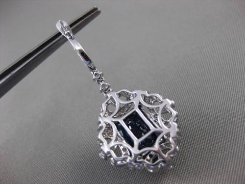 ANTIQUE LARGE 11.91CT DIAMOND & AAA SAPPHIRE 18KT WHITE GOLD 3D HANGING EARRINGS