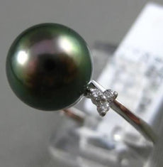ESTATE .06CT DIAMOND 14K WHITE GOLD TAHITIAN PEARL FLOWER SOLITAIRE 3 PETAL RING