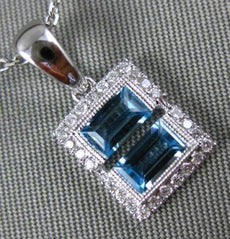 .81CT DIAMOND & AAA BLUE TOPAZ 14KT WHITE GOLD RECTANGULAR ILLUSION LOVE PENDANT