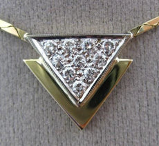 ESTATE .40CT DIAMOND 14KT TWO TONE GOLD 3D DOUBLE TRIANGLE NECKLACE E/F #25658
