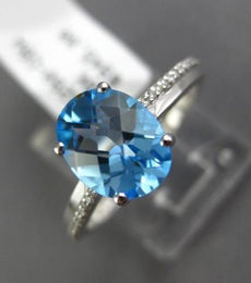 ESTATE 2.57CT DIAMOND & AAA BLUE TOPAZ 14KT WHITE GOLD 3D OVAL ENGAGEMENT RING