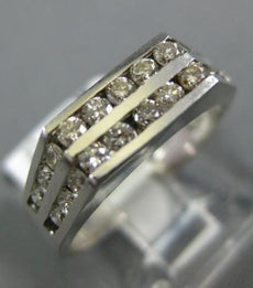 ESTATE .56CT ROUND DIAMOND 18KT WHITE GOLD 3D SEMI HEXAGON DOUBLE ROW MENS RING