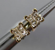 ESTATE .15CT PRINCESS DIAMOND 14KT YELLOW GOLD SOLITAIRE CLASSIC STUD EARRINGS