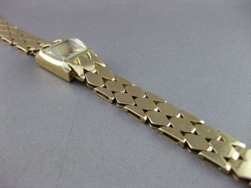 ANTIQUE 14KT YELLOW GOLD SUTER SQUARE FACE SWISS LADIES WATCH VERY CUTE #2219