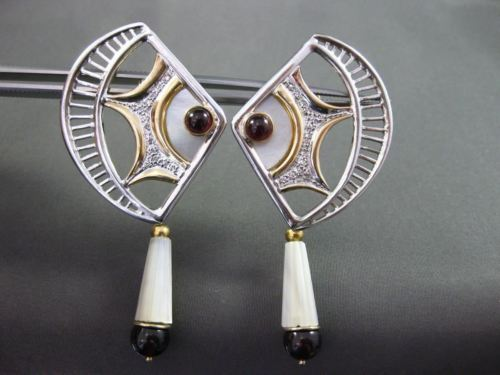 ANTIQUE EXTRA LARGE .33CT DIAMOND GARNET PEARL 14KT YELLOW GOLD CLIP ON EARRINGS