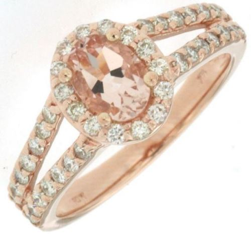 ESTATE 1.30CT DIAMOND & MORGANITE 14KT ROSE GOLD 3D OVAL HALO ENGAGEMENT RING