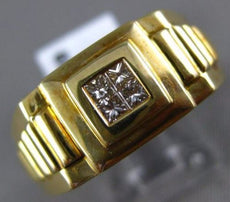 ESTATE WIDE .20CT DIAMOND 14KT YELLOW GOLD 3D INVISIBLE PYRAMID MENS GYPSY RING