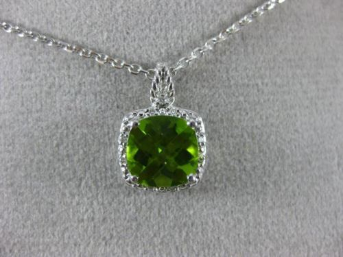 ESTATE 2.30CT DIAMOND & AAA PERIDOT 14KT WHITE GOLD SQUARE HALO FLOATING PENDANT