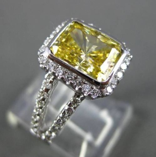 LARGE FANCY YELLOW 14KT WHITE GOLD DIAMOND SPLIT BAND HALO COCKTAIL RING #23052