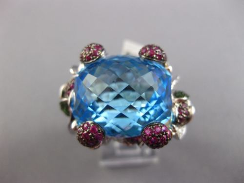 LARGE 27.76CT DIAMOND AAA BLUE TOPAZ TSAVORITE & RUBY 18K WHITE GOLD FLOWER RING
