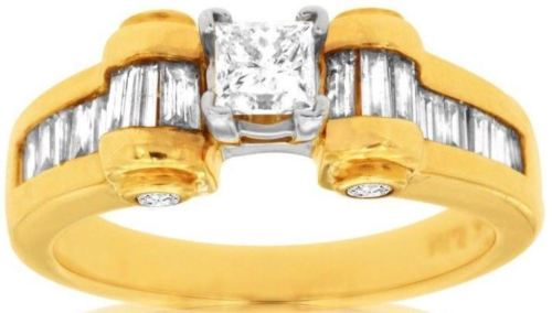 ESTATE 1.15CT PRINCESS & BAGUETTE DIAMOND 14KT YELLOW GOLD SWIRL ENGAGEMENT RING
