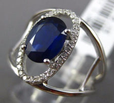 ESTATE 1.53CT DIAMOND & AAA SAPPHIRE 14K WHITE GOLD 3D OVAL HALO ENGAGEMENT RING